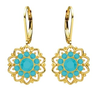 Lucia Costin Sterling Silver Turquoise Crystal Earrings with Delicate Flower Pattern