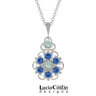 Lucia Costin Sterling Silver Mint Blue/ Blue Crystal Pendant with Dots