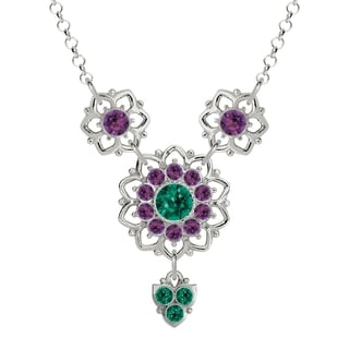 Lucia Costin Sterling Silver Green/ Violet Crystal Necklace