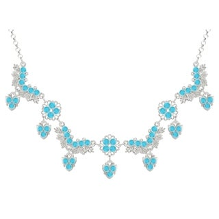 Lucia Costin Sterling Silver Turquoise Crystals Necklace
