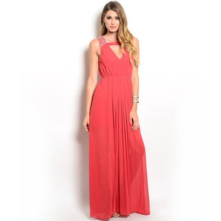 Shop the Trends Women's Sleeveless Gown with Embellishments on Straps and V-Cutout on Yoke