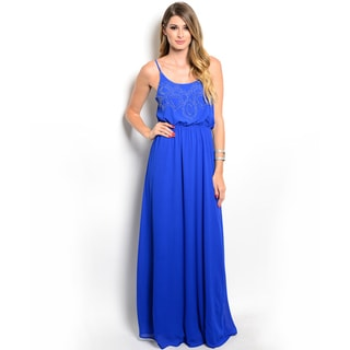 Shop the Trends Women's Spaghetti Strap Chiffon Gown with Scooped Neckline and Gathered Waist