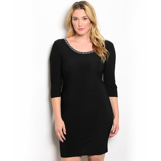 Shop the Trends Women's Plus Size 3/4-sleeve Bodycon Dress with Rounded Neckline and Embellished Trim