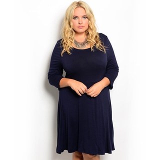 Shop the Trends Women's Plus Size 3/4-sleeve Knit Baby Doll Dress with Rounded Neckline
