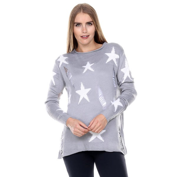 Stanzino Women's Ripped Chunky Knit Star Sweater