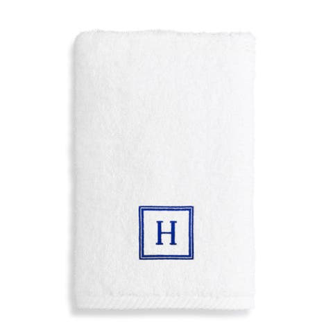Authentic Hotel and Spa Turkish Cotton Soft Twist Hand Towel with Embroidered Navy Blue Monogrammed Initial