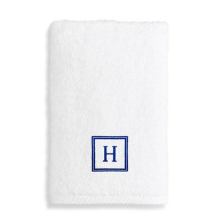 authentic hotel and spa turkish cotton soft twist hand towel with embroidered navy blue monogrammed initial - Fingertip Towels
