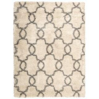 Nourison Escape White Shades Shag Area Rug (5'3 x 7'3)