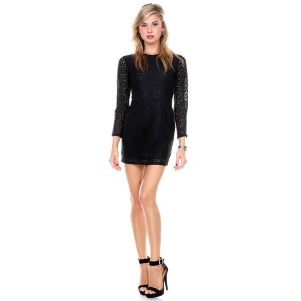 Stanzino Women's Open Back Cocktail Lace Little Black Dress