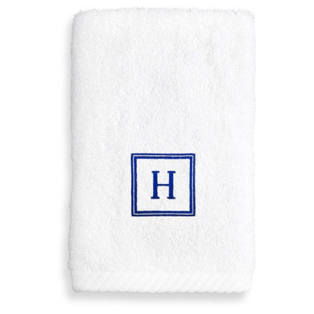 Authentic Hotel and Spa Turkish Cotton Soft Twist Washcloth with Embroidered Navy Blue Monogrammed Initial