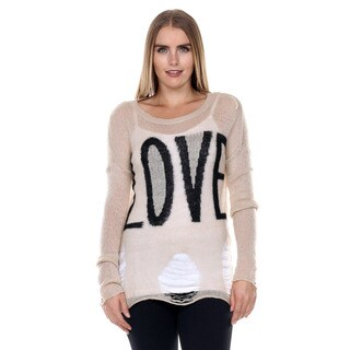 Stanzino Women's Long Sleeve Distressed Sweater