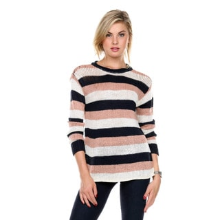 Stanzino Women's Crewneck Striped Long Sleeve Sweater