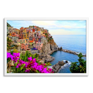 Gallery Direct 'Cinque Terre coast of Italy with flowers' Paper Framed