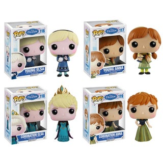 Funko Disney Frozen Pop Vinyl Collectors Set with Young Anna/ Young Elsa/ Coronation Anna/ Coronation Elsa