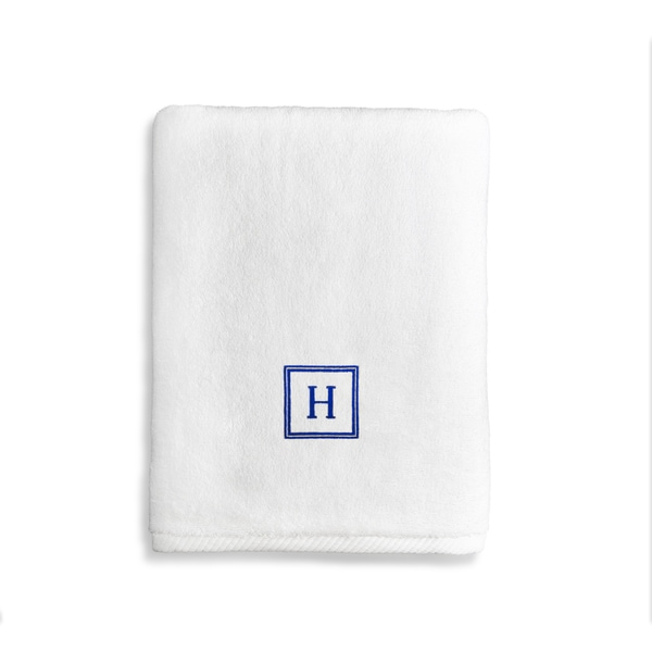 Authentic Hotel and Spa Turkish Cotton Soft Twist Bath Towel with Embroidered Navy Blue Monogrammed Initial