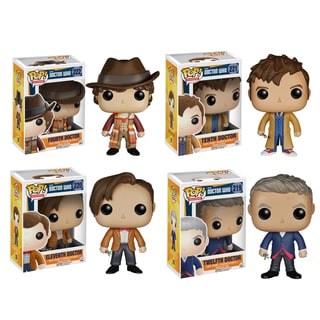 Funko Doctor Who Pop TV Vinyl Collectors Set with Fourth Doctor/ Tenth Doctor/ Eleventh Doctor/ Twelfth Doctor