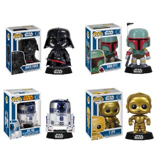 Funko Star Wars Pop Vinyl Collectors Set with Darth Vader/ Boba Fett/ R2-D2/ C-3PO