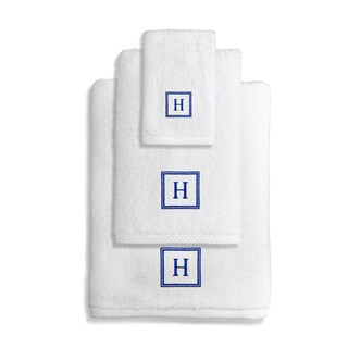 Authentic Hotel and Spa Turkish Cotton Soft Twist 3-piece Towel Set with Embroidered Navy Blue Monogrammed Initial