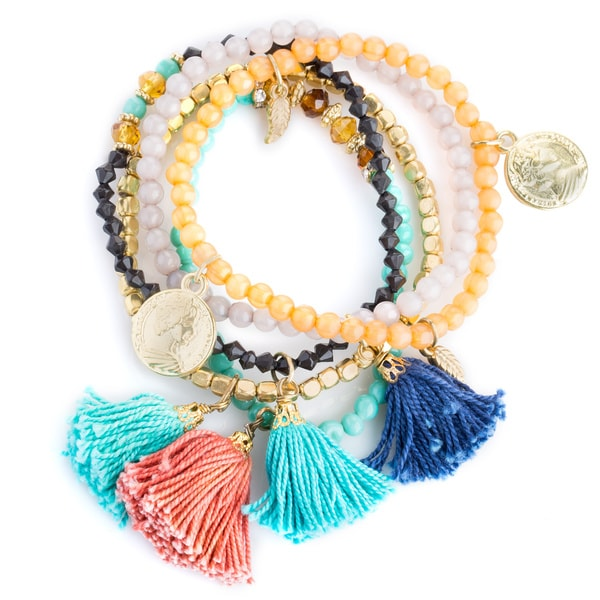 Handmade Set Of 5 Tel And Coin Beaded Stretch Bracelets India