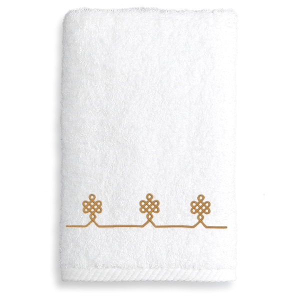 Authentic Hotel and Spa Turkish Cotton Soft Twist Hand Towel with Embroidered Gold Filigree Design