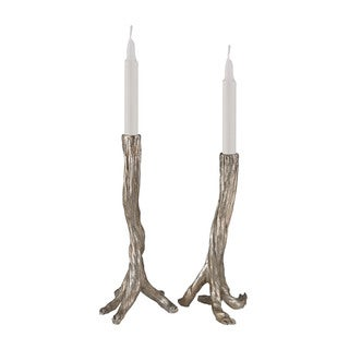 Sterling Silver Leafed Branch Candle Holders