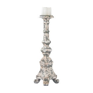 Sterling Aged Plaster Tall Candle Holder