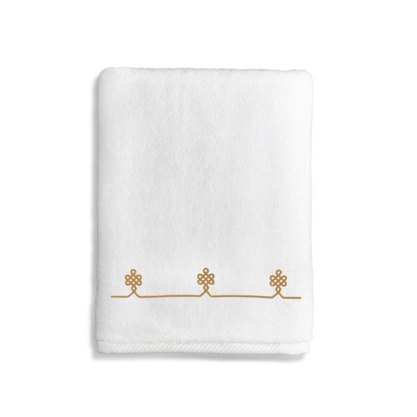 Authentic Hotel and Spa Turkish Cotton Soft Twist Bath Towel with Embroidered Gold Filigree Design