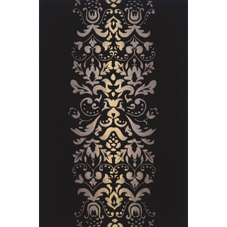 Damask Black Hand-tufted Wool Rug (9'6 x 13'6)