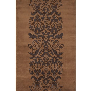 Damask Brown Hand-tufted Wool Rug (9'6 x 13'6)