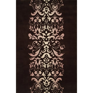 Damask Chocolate Hand-tufted Wool Rug (9'6 x 13'6)