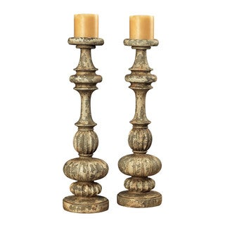 Sterling Flemish Carved Candle Holders