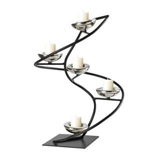 Sterling Iron Black/ Chrome Spiral Candle Holder
