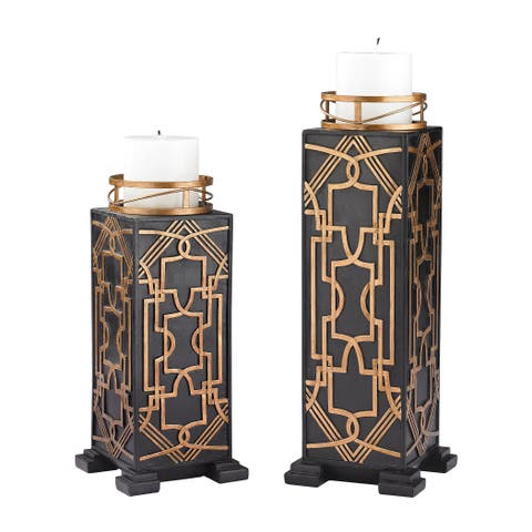 Sterling Gatsby Candleholders(Set of 2)