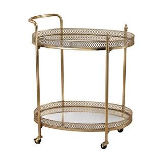 Sterling Banded Oval Bar Cart