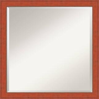 Bourbon Orange Rustic Wall Mirror - Square 22 x 22-inch