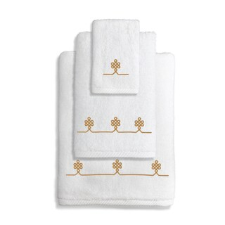 Authentic Hotel and Spa Turkish Cotton Soft Twist 3-Piece Towel Set with Embroidered Gold Filigree Design
