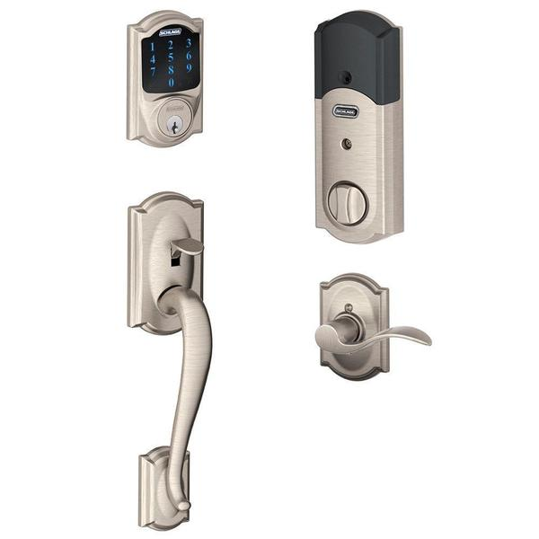 Schlage Connect Camelot Satin Nickel Touchscreen Deadbolt With Alarm And  Handle Set With Accent Interior Lever