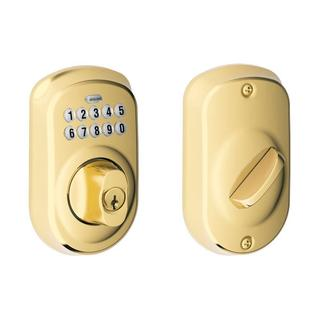 Schlage Plymouth Bright Brass Keypad Deadbolt