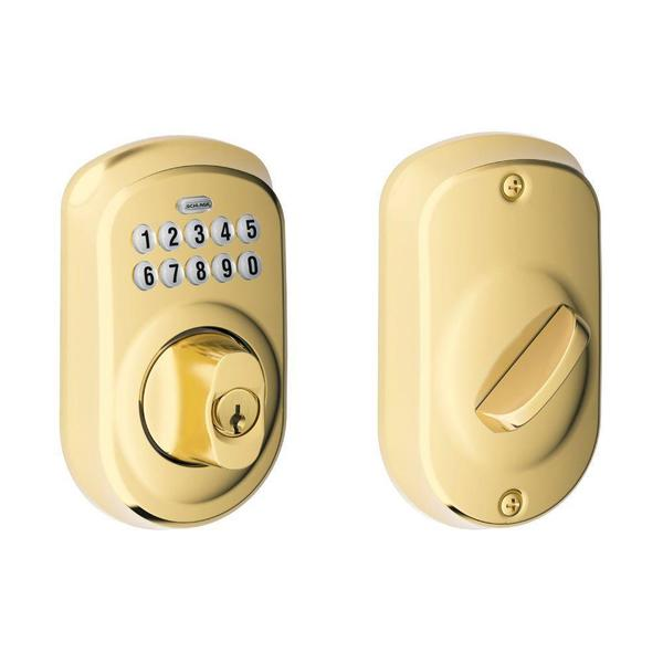 Schlage Plymouth Bright Brass Keypad Deadbolt Free