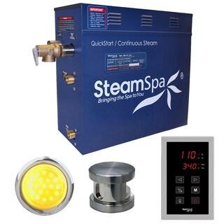 SteamSpa Indulgence 7.5 KW QuickStart Steam Bath Generator Package in Brushed Nickel
