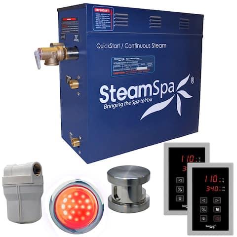 SteamSpa Royal 4.5 KW QuickStart Steam Bath Generator Package in Brushed Nickel