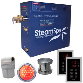 SteamSpa Royal 4.5 KW QuickStart Steam Bath Generator Package in Brushed Nickel