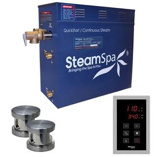SteamSpa Oasis 12 KW QuickStart Steam Bath Generator Package in Brushed Nickel