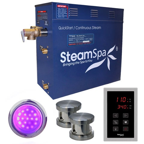 SteamSpa Indulgence 12 KW QuickStart Steam Bath Generator Package in Brushed Nickel