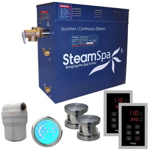 SteamSpa Royal 12 KW QuickStart Steam Bath Generator Package in Brushed Nickel