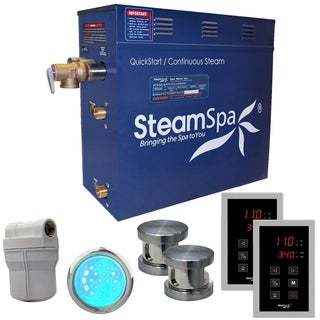 SteamSpa Royal 12 KW QuickStart Steam Bath Generator Package in Brushed Nickel