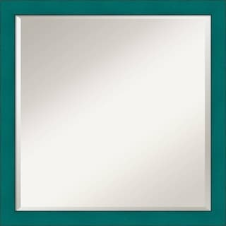 French Teal Rustic Wall Mirror - Square 22 x 22-inch