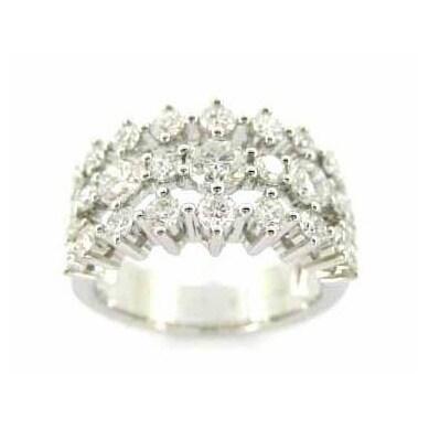 Kabella 18k White Gold 2 1/3 TDW Diamond 3-row Ring