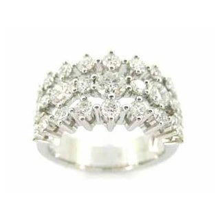 Kabella 18k White Gold 2 1/3 TDW Diamond 3-row Ring (G-H, VS1-VS2)