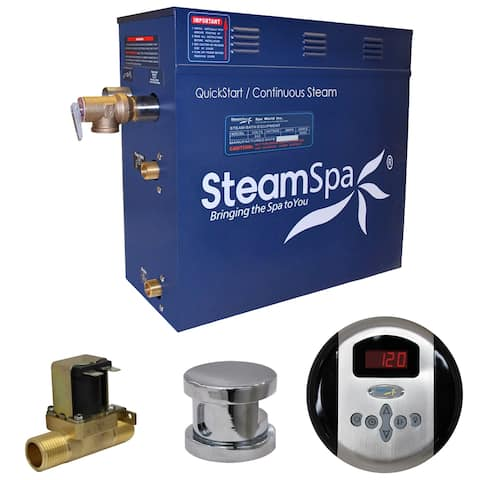 SteamSpa Oasis 4.5 KW QuickStart Steam Bath Generator Package with Built-in Auto Drain in Polished Chrome